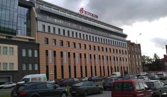 вентфасады на административном здании, керамогранит и композитные панели