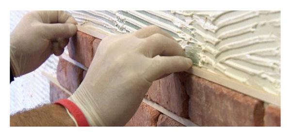 традиционный монтаж клинкерной плитки Brick -Tile на клей